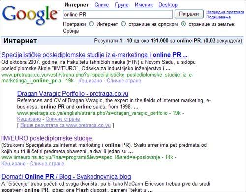 Google pretraga - Srbija