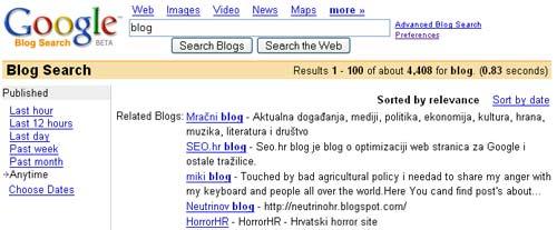 pretraga blogova na Guglu za Hrvatsku