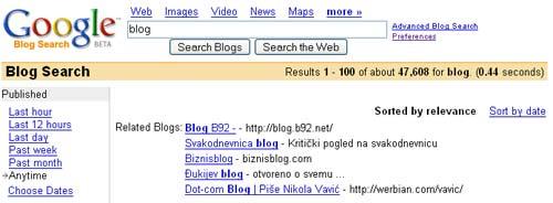pretraga blogova na Guglu za Srbiju