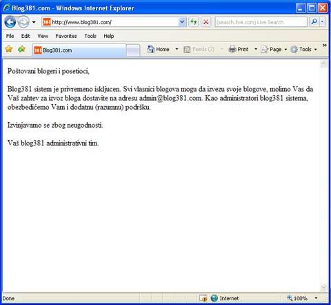 blog381 privremeno zatvoren